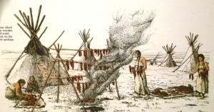 On the Northern Plains, Indian nations such as the Blackfoot would place thin strips of buffalo meat on racks over a smoky fire to let the smoke cure and preserve the meat.